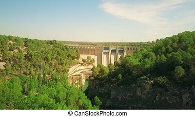 Aerial view of the hydroelectric power plant dam - Aerial...