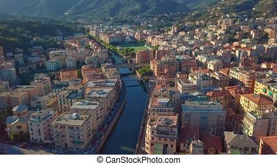 Aerial view of the Italian Riviera, Rapallo, Italy
