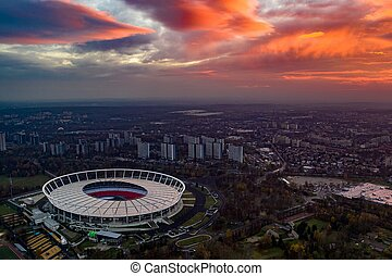 Aerial view of the Katowice and Chorz?w in the evening.