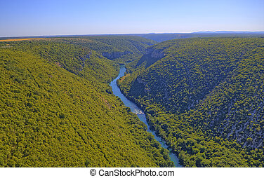 Aerial view of the Krka River Canyon