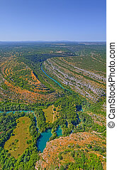 Aerial view of the Krka River