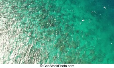 Aerial view of the lagoon sea surface with coral reef and sun rays