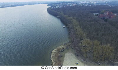 Aerial view of the lake and forest