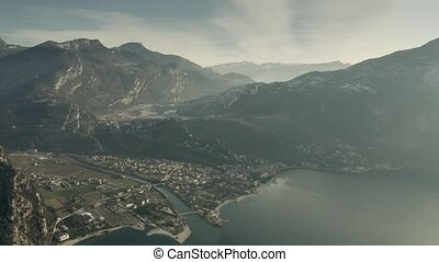 Aerial view of the Lake Garda shore and town of Torbole....