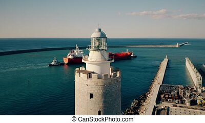 Aerial view of the lantern of an old lighthouse - Aerial...