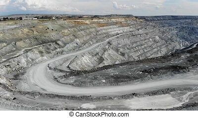 Aerial view of the large industrial quarry for the...