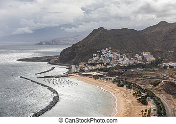 Aerial view of the Las Teresitas beach and village of San...