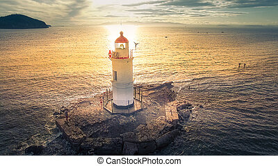 Aerial view of the lighthouse at Cape Egersheld in...