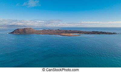 aerial view of the lobos island, fuerteventura