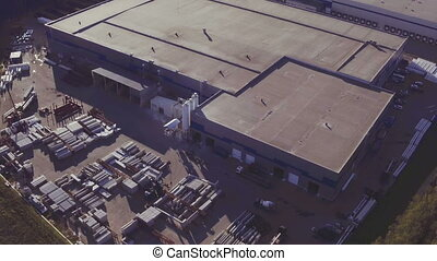 Aerial view of the logistics warehouse - Aerial footage of a...