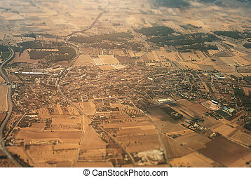 Aerial view of the Mallorcan village.