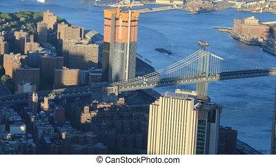 Aerial view of the Manhattan Bridge to Brooklyn