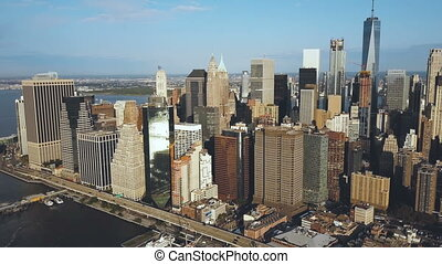 Aerial view of the Manhattan downtown in new York, America....
