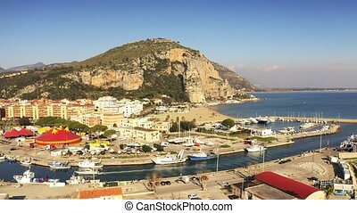 Aerial view of the marina in Terracina, Italy