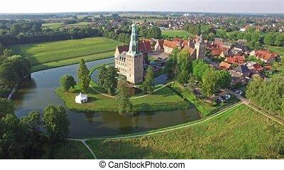 Aerial view of the medieval castle of Raesfeld, Germany