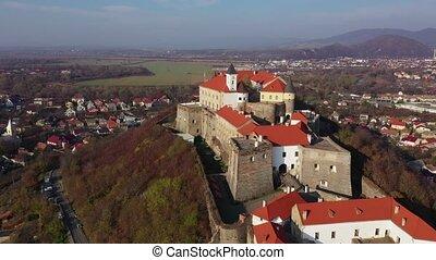 Aerial view of the medieval castle Palanok, Mukachevo,...