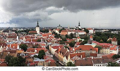 aerial view of the medieval town Tallinn