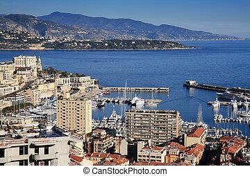 Monte Carlo in Monaco - Aerial view of the Mediterranean ...