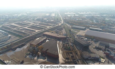 aerial view of the metal processing plant and the modern...
