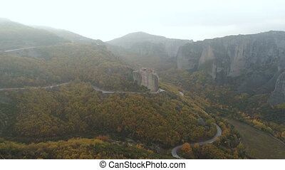 Aerial view of the Meteora rocky landscape and monasteries...