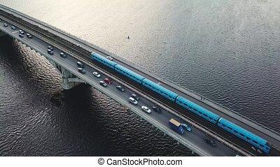 Aerial view of the metro bridge in Kiev, Ukraine. Lively...