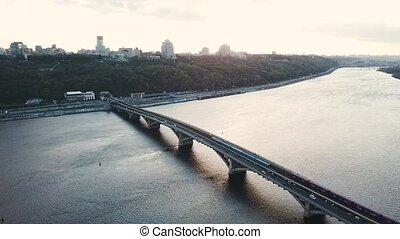 Aerial view of the metro bridge in Kiev, Ukraine. Lively traffic