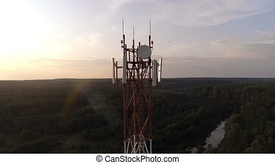 Aerial view of the mobile cellular telecom tower - Aerial...