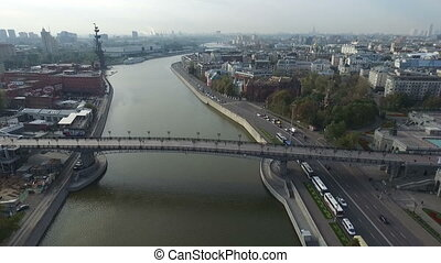 Aerial view of the monument to Peter the Great through the Patriarchal Bridge