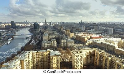 Aerial view of the Moscow river and Kutuzovsky Prospekt, a...