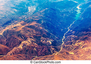 Aerial view of the mountain river