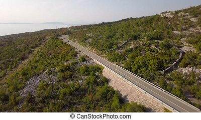 Aerial view of the mountain road in Croatia