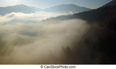 Aerial view of the mountains with a morning fog