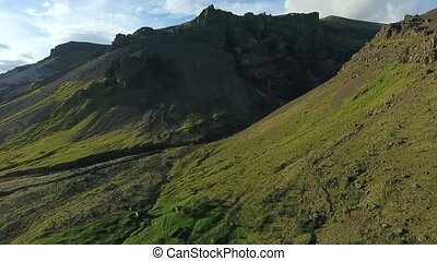 Aerial view of the mountainside of Iceland. Andreev. -...