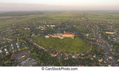 Aerial view of the Mukachevo castle Palanok medieval...