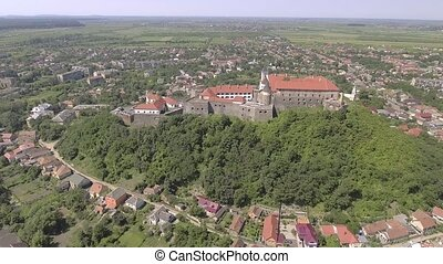 Aerial view of the Mukachevo castle Palanok medieval fortress in Ukraine