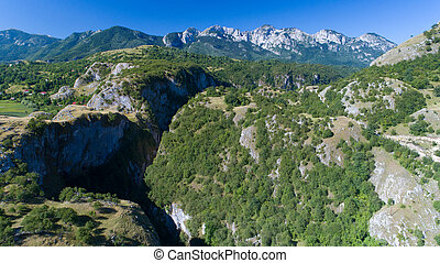 Aerial view of the narrow canyon Nevidio