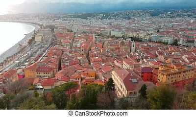 Aerial View of The Nice Old Town French Riviera - Aerial...