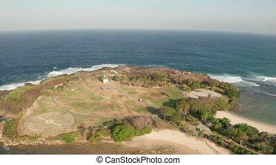 Aerial view of the Nusa Dua island and beach in Bali