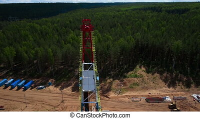 Aerial view of the oil gas drilling tower