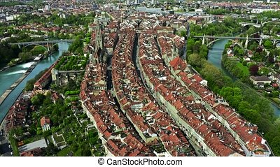 Aerial view of the Old City of Bern, Switzerland - Aerial...