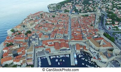 Aerial view of the old city of Dubrovnik before sunrise