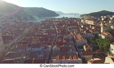 Aerial view of the old city of Dubrovnik during sunrise