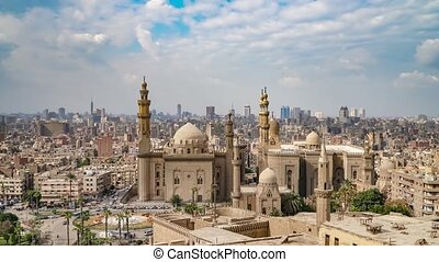 Aerial view of the old part of Cairo. Mosque-Madrassa of Sultan Hassan. Cairo. Egypt. Timelapse