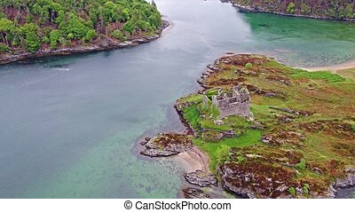 Aerial view of the old ruined castle Tioram in the Highlands of Scotland