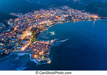 aerial view of the Old Town Budva at night