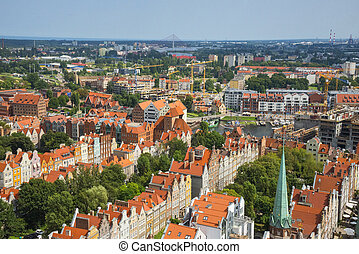 Aerial view of the old town in Gdansk