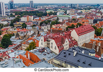 Aerial view of the Old Town in Tallinn, Eston