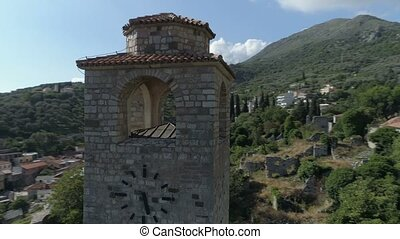Aerial view of the old town of Bar ancient ruins, Montenegro