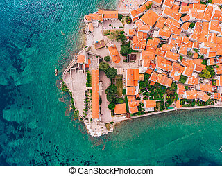 aerial view of the old town of Budva, Montenegro