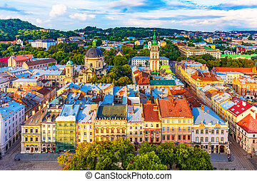 Aerial view of the Old Town of Lviv, Ukraine